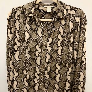 H&M Silky Snakeskin Patterned Button-down